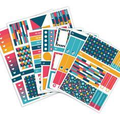 Navy Geometric Planner Stickers Weekly Kit  Vertical by oddloop