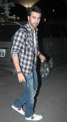 Help me find a similar black and white checked shirt and blue ripped jeans as Ranbir Kapoors