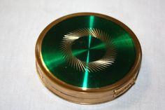 Vintage makeup compact margaret rose emerald by TheOldJunkTrunk, $12.00