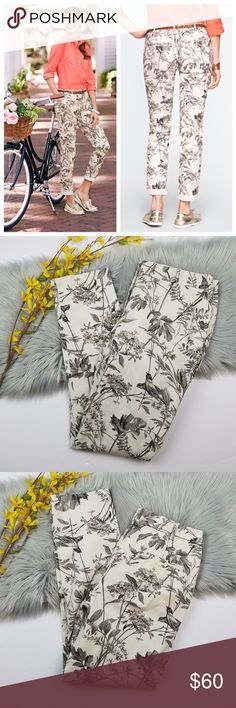 NWT Talbots Pants Cream and grey botanical print Weekender pants. New with tags. Size 4. Can provide measurements if needed. Talbots Pants