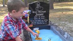 "Family added a sandbox to their baby's grave so big brother could ""play with"" him when they visit the cemetery. I think this is a beautiful idea. Some people think its weird even creepy! What do you think? Love Will Find You, Ryan Michael, Cemetery Art, Cemetery Statues, Cemetery Monuments, Could Play, After Life, Faith In Humanity, My Heart Is Breaking"