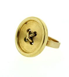 """TIFFANY & CO. 14K YELLOW GOLD STAMPED CUTE ADORABLE """"BUTTON"""" RING   ~  8.2 Grams  ~  CLASSIC  ~  Jan. 2015 ~ $960.00"""