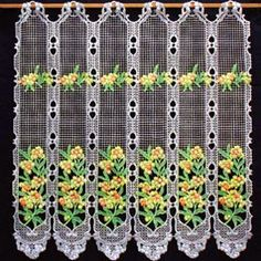 Lovely coloured lace curtain with mimosa, perfect for your kitchen curtain and provence home decor. Direct from French manufacturer, expert in lacemaking since Mimosas, Lace Valances, Net Curtains, Macrame Curtain, Lacemaking, Curtain Lights, Home Design Decor, Kitchen Curtains, Damask