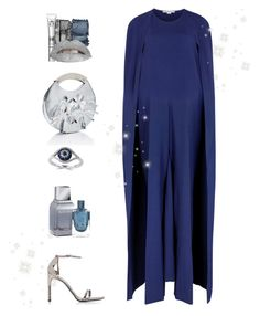 """""""Silver & Blue (contest)"""" by sereneowl ❤ liked on Polyvore featuring NARS Cosmetics, Eyeko, STELLA McCARTNEY, Delpozo, Stuart Weitzman and Effy Jewelry"""