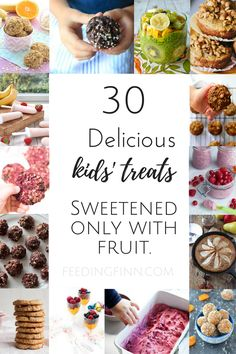 Delicious kids' treats sweetened only with fruit. No refined sugar, syrups or honey. Perfect for kids of all ages and blw (baby led weaning.)