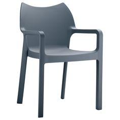 Stapelbarer Outdoor-Stuhl aus glasfaserverstärktem Polypropylen. Hohe Stabilität, Wetter- und UV-Beständigkeit.