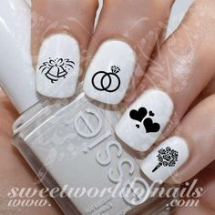 Wedding Nail Art Bells Rings and flowers Nail Water Decals Wraps #nailart