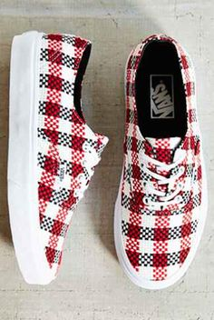 red and white plaid tennis shoes