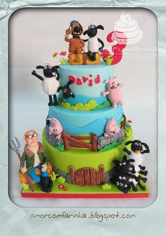 A boy for his birthday just wanted a gift, Shaun the sheep cake … The mother held his request, here's your birthday present. Fondant Cakes, Cupcake Cakes, Cupcakes, Beautiful Cakes, Amazing Cakes, Shaun The Sheep Cake, Timmy Time, Farm Cake, Character Cakes
