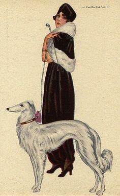 Illustration Vintage 'Les Chiens et leur maitresse' 1917 - Giovanni Nanni