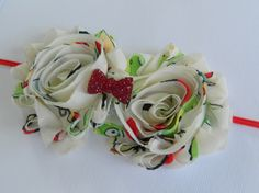 Shabby Flowers with Red Crystal Bow Embelishment
