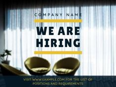 A smooth Job Vacancy template with an image in the background, yellow lines, and black text. Yellow Line, We Are Hiring, Company Names, Smooth, Positivity, Templates, Image, Black, Business Names