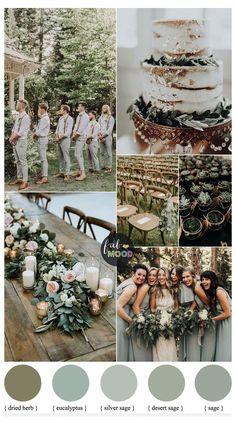 Wedding Goals, Wedding Planning, Dream Wedding, Gown Wedding, Sage Green Wedding, Green Wedding Themes, Gray Suit Wedding, November Wedding Colors, Popular Wedding Colors