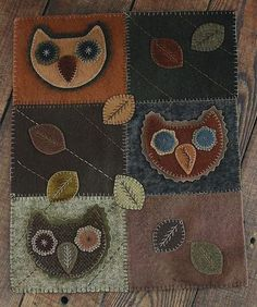 Folkartist Rebekah L. Smith designs and creates wool applique patterns inspired by historic American folk art. Find patterns for your next hand-stitched project. Wool Applique Patterns, Applique Fabric, Felt Applique, Applique Designs, Felted Wool Crafts, Felt Crafts, Owl Fabric, Fabric Flowers, Wool Mats