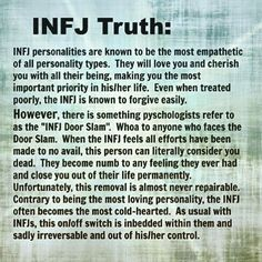 INFJ door slam Seriously, so interesting reading about my personality type and feeling all the feels. I love understanding myself better. Infj Traits, Infj Mbti, Intj And Infj, Isfj, Extroverted Introvert, Rarest Personality Type, Infj Personality, Myers Briggs Personality Types, Personalidad Infj