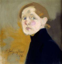 Helene Schjerfbeck (Finnish, 1862-1946). Self Portrait, 1912. Oil on canvas. 43.5 x 42 cm (17 1/8 x 16 1/2 in.). 7th grade students: Viaton, vaatimaton, pelokas, sairas. jähmettynyt, ihmettelevä, pelokas, utelias, hämmentynyt, huolestunut.