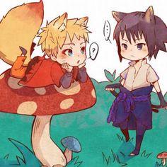 Adorable Sasuke and Naruto chibi cats