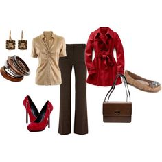 Love this brown, red, tan work outfit.