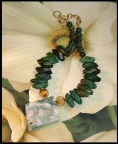 Huge Jasper Druzy and Aventurine Nugget Necklace #234 | GracefulDesigns - Jewelry on ArtFire