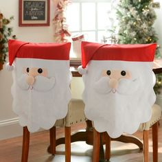 Deck out your dining room with these adorable Santa Chair Covers! With a simple slip cover design, each cover features an over-sized, smiling Santa face.Santa Chair Coverps, Set of yourself a merry Kirkland's Christmas! Christmas Sewing, Felt Christmas, Christmas Stockings, Christmas Holidays, Christmas Ornaments, Christmas Kitchen, Santa Crafts, Christmas Projects, Holiday Crafts
