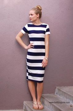 Nautical Stripes Midi Dress