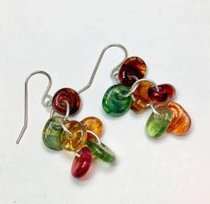 Lampwork boro beads floral drops earrings by Paulbead autumn