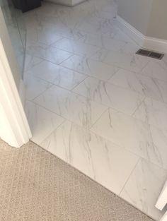 Florentine Carrara Install Brick Joint Parallel to Doorway whitebathr… – Marble Bathroom Dreams Carrara Marble Bathroom, Bathroom Floor Tiles, Bathroom Colors, Bathroom Sets, Small Bathroom, Neutral Bathroom, Bathtub Tile, Big Bathrooms, Bathroom Countertops