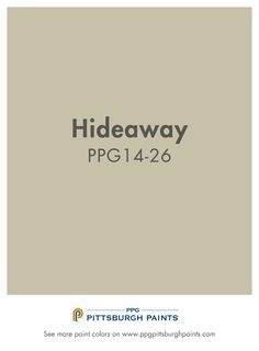 Hideaway PPG14-26 from PPG Pittsburgh Paints. As one of the most commonly used paint colors, beige can be a safe neutral to feature throughout your home.