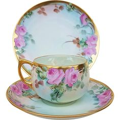 Beautiful Bavaria 1915 Hand Painted 'Pink Roses' Floral Cup, Saucer, & Plate Set by Listed Artist, 'Mary Reynolds' Tea Pot Set, Cup And Saucer Set, Tea Cup Saucer, Tea Sets Vintage, Cup Art, China Tea Sets, Teapots And Cups, Rose Tea, My Cup Of Tea