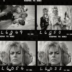 """A candid moment between David Bowie and his look-alike stuntman Nick Gillard on the set of 'Labyrinth.'   As Halloween approaches I've become more and more convinced that this year will bring a cavalcade of David Bowie fans dressed as various personas developed by the Thin White Duke over his long career. Even yours truly is planning on """"becoming Bowie"""" on October 31st and I'm so committed to my quest to look like Aladdin Sane that I'm planning on dying my hair bright red for the occasion…"""