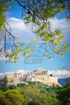 Hermosa vista de la antigua Acrópolis, Atenas, Grecia