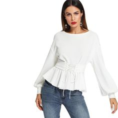 Shop Lantern Sleeve Top with Corset Belt online. SheIn offers Lantern Sleeve Top with Corset Belt & more to fit your fashionable needs. Fashion 2018, Spring Fashion, Corset Belt, Spring Shirts, Spring Blouses, Blouses For Women, Ladies Blouses, Shirt Blouses, Ideias Fashion