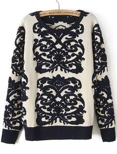 Navy Long Sleeve Porcelain Vintage Floral Sweater - Sheinside.com