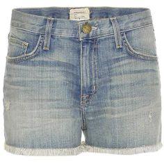 Current/Elliott The Boyfriend Frayed Denim Shorts ($275) ❤ liked on Polyvore featuring shorts, frayed denim shorts, light blue shorts, jean shorts, short jean shorts and current elliott shorts
