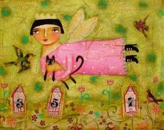 the SIAMESE CAT fairy a PRINT of an original collage painting by tascha. $15.00, via Etsy.