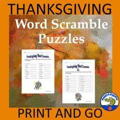 Thanksgiving Word Scramble Puzzles - Fun Vocabulary Activities Distance Learning