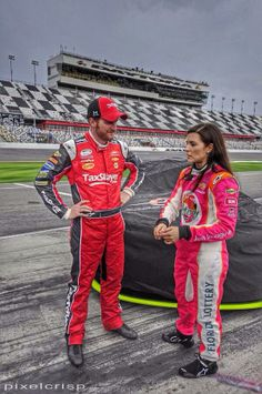 2-21-14 at Daytona rain delay during NNS qualifying talking to Danica Patrick