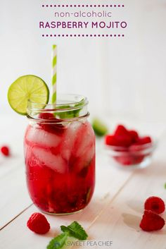 Non-Alcoholic Raspberry Mojito   Perfect for a baby shower, kids party, or lazy day at the pool.  www.asweetpeachef.com