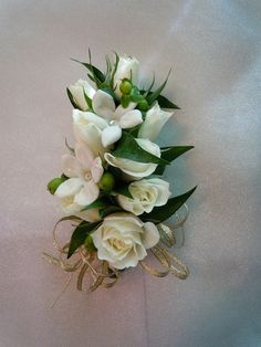 Kellys other corsages Homecoming Flowers, Prom Flowers, Rose Corsage, Corsage Wedding, White Spray Roses, White Roses, Ribbon Design, Gold Ribbons, Wedding Decorations