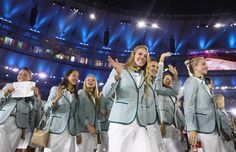 Members of the Australia team take part in the Opening Ceremony of the Rio 2016 Olympic Games at Maracana Stadium on August 5, 2016 in Rio de Janeiro, Brazil.