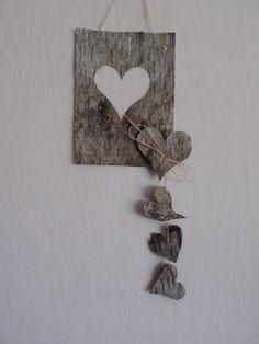 Dekorace z březové kůry Creative Ideas, Den, Arts And Crafts, Hearts, Craft Ideas, Wood, Frame, Nature, Kids