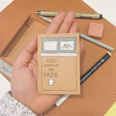 Let someone know you miss them with my mini, hand-drawn card. Perfect to stuff in a suitcase or slip into a secret hiding spot. Also a great alternative to send with care packages. 2 3/4 x 3 3/4 blank card Kraft Cardstock w/ matching envelope  **HDD is proud to partner with IAVA (Iraq and Afghanistan Veterans of America), an organization that represents our newest generation of veterans. One dollar ($1) from this card and its full size version will go to fund IAVA. To find out more or become…