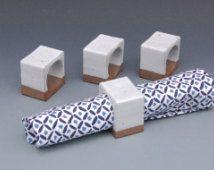 Geometric Napkin Ring - White Ceramic Napkin Rings - Napkin Holders