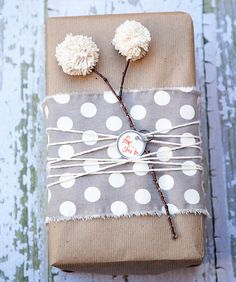 wrap gifts with fabric and flowers