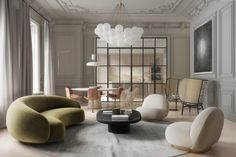 Gori & Yoon studio renovated an apartment in a historic Milan house and found the perfect balance between the classic context of space and modern interior design. Contemporary Interior Design, Contemporary Furniture, Luxury Furniture, Home Interior Design, Interior Architecture, Furniture Design, Contemporary Classic, Modern Classic Interior, Italian Interior Design