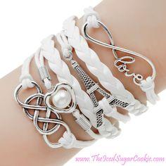 Paris Eiffel Tower Love Infinity Heart White Leather Women Jewelry Bracelet