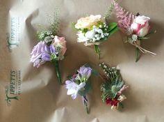 Mixed flower buttonholes for wedding by Tippetts florist www.tippettsflorist.com