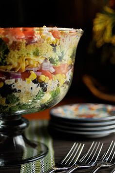 Mississippi Kitchen: South by Southwest Layered Cornbread Salad-- combine the two to get a good one