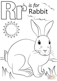 Letter R is for Rabbit coloring page from Letter R category. Select from 26388 printable crafts of cartoons nature animals Bible and many more. Letter A Coloring Pages, Coloring Letters, Coloring Sheets For Kids, Free Printable Coloring Pages, Coloring Books, Alphabet For Kids, Preschool Letters, Alphabet Activities, Alphabet Book