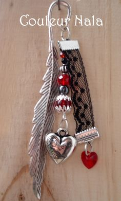 SPECIAL SAINT VALENTIN Marque-pages bijoux métal argenté, coeur en verre rouge, en métal argenté, dentelle noire : Marque-pages par couleur-nala